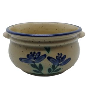 Stoneware Bowl with Handles, Blue Rim & Flowers